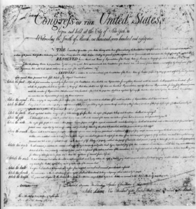 A picture of the Bill of Rights